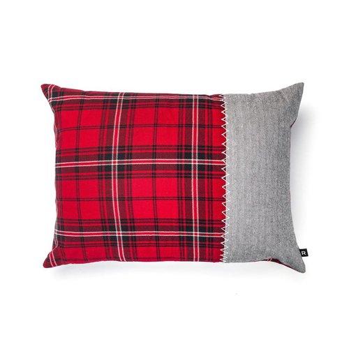 Red Checkered and Tweed Herringbone Cushion