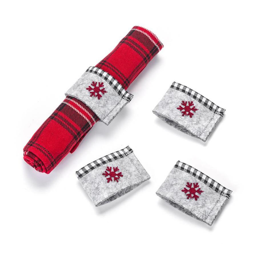 Grey Felt Napkin Rings with Red Snowflake - Photo 0