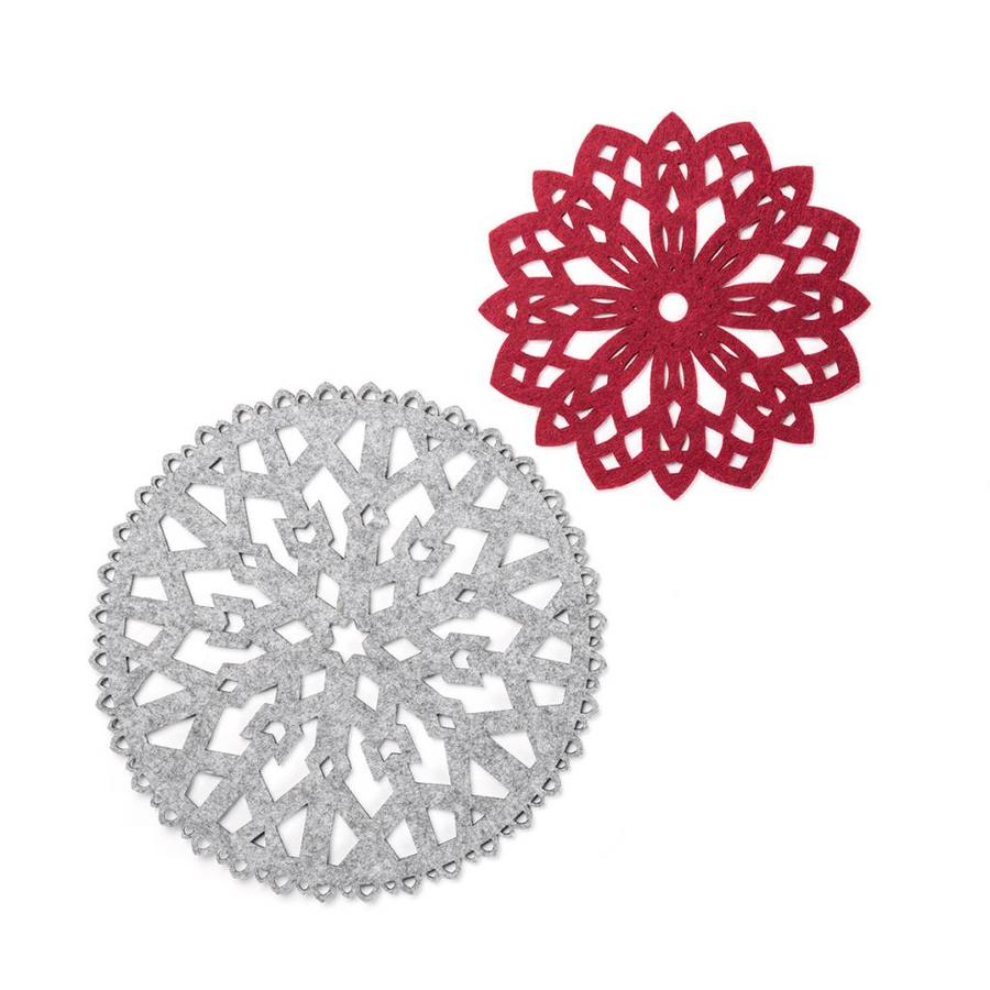 Red and Grey Felt Snowflakes Trivets - Photo 0