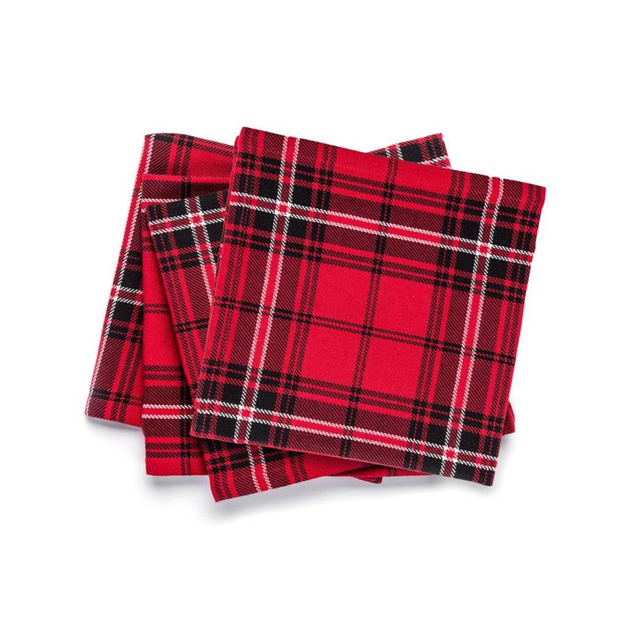 Serviettes de table rouges à carreaux - Photo 0