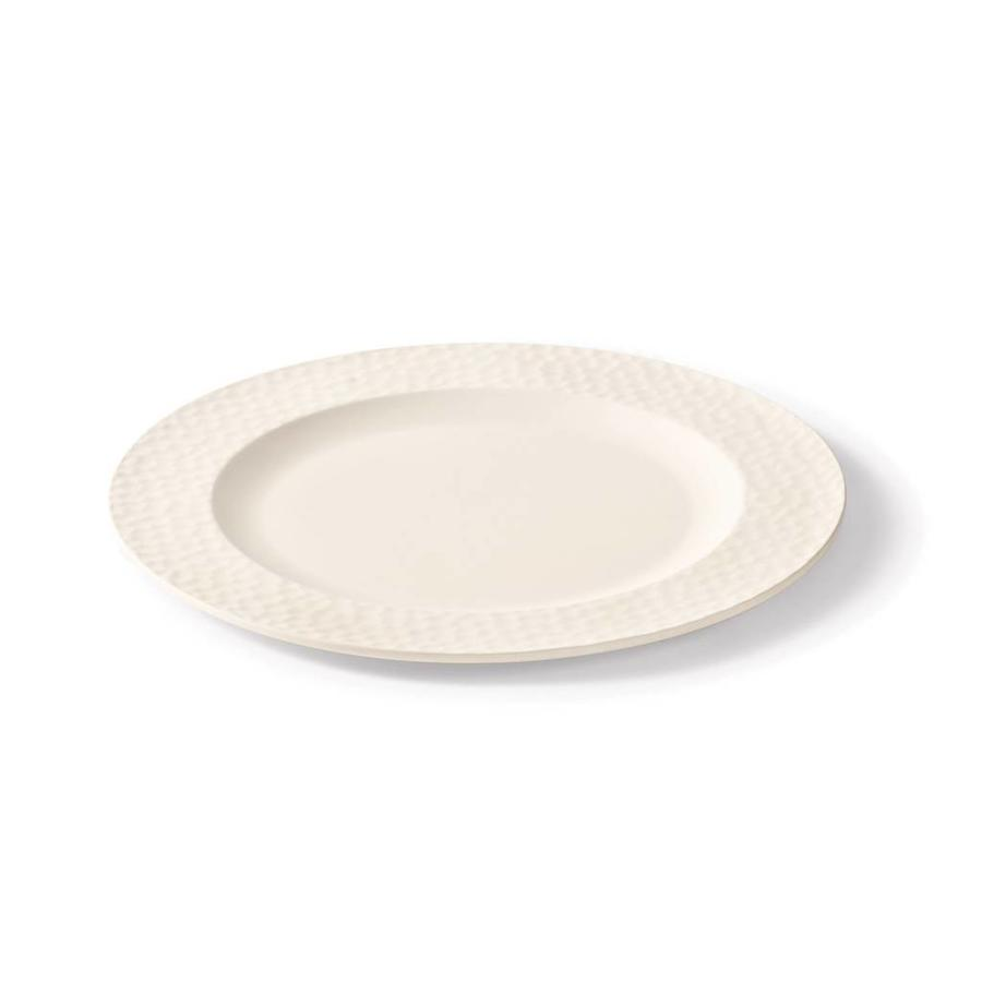 Chalk White Bamboo Plate with Embossed Rim - Photo 0