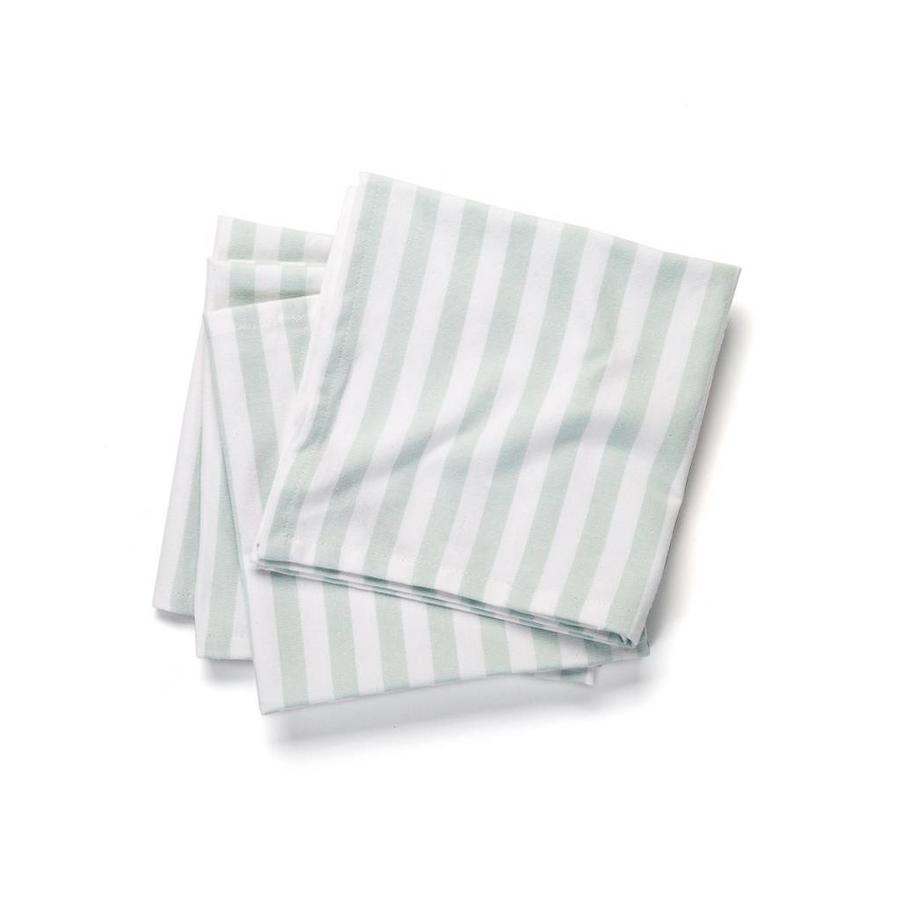 Serviettes de table blanches à fines rayures bleues - Photo 0