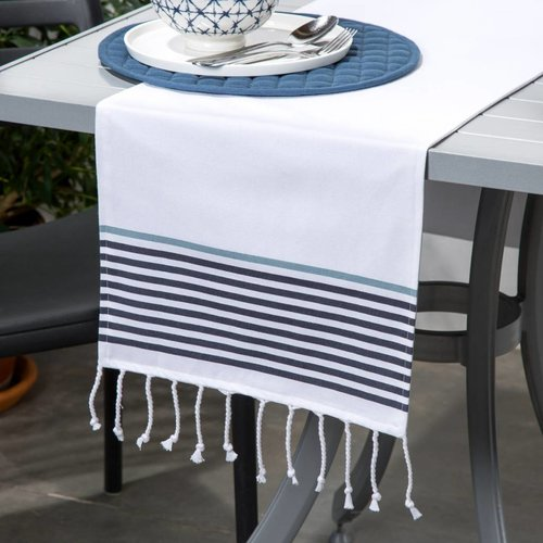 White Table Runner with Tassels and Stripes