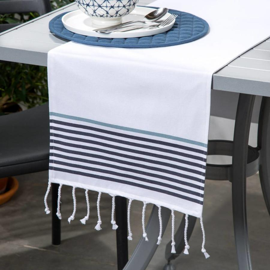 White Table Runner with Tassels and Stripes - Photo 0