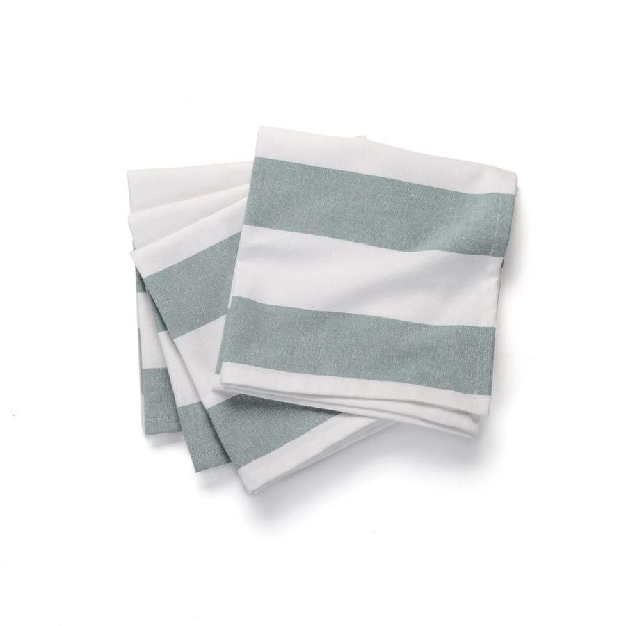 White Table Napkins with Large Blue Stripes - Photo 0