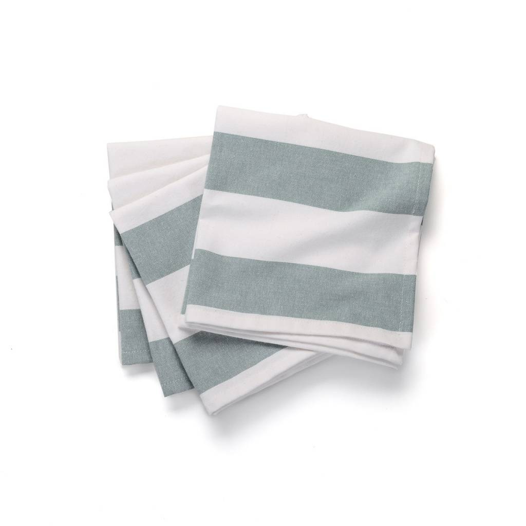 609f4b8a913 White Table Napkins with Large Blue Stripes - Boutique RICARDO