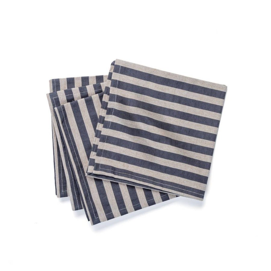 Chambray Table Napkins with Black Stripes - Photo 0