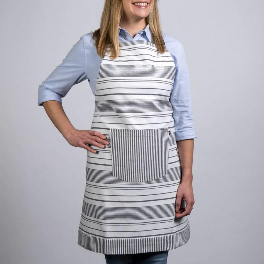 White Apron with Black Stripes - Photo 0