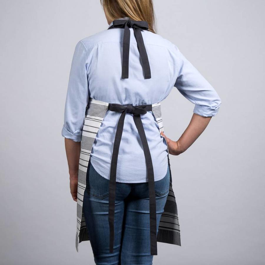 White Apron with Black Stripes - Photo 1