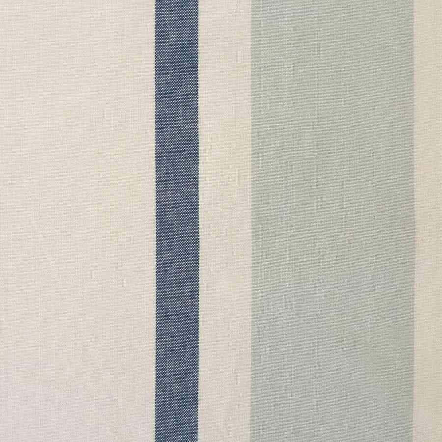 Chambray Tablecloth with Blue Stripes and Tassels - Photo 1