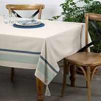Chambray Tablecloth with Blue Stripes and Tassels