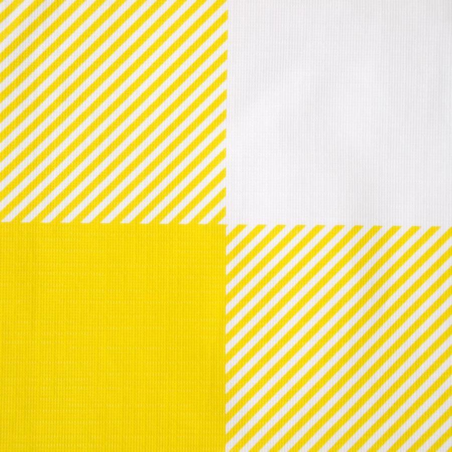 Nappe en plastique jaune à carreaux - Photo 1