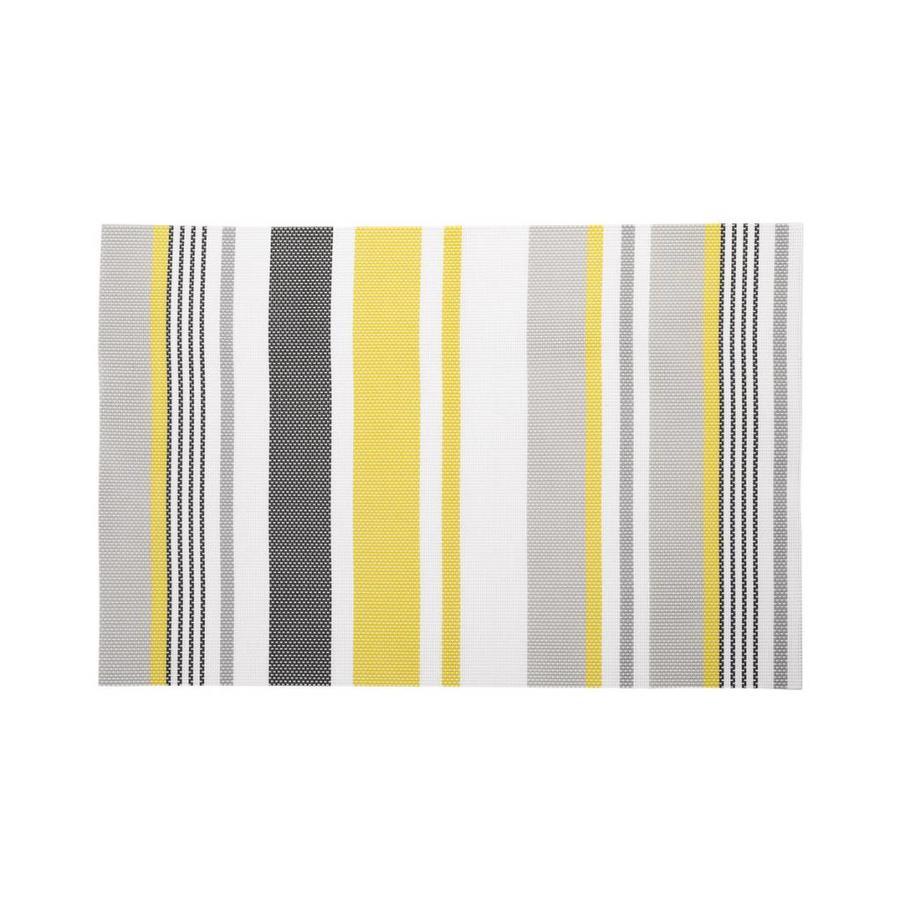 Napperon en plastique à rayures jaunes et grises - Photo 0