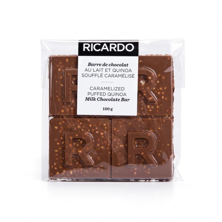 Large caramelized puffed quinoa milk chocolate bar, 100 g - Photo 1