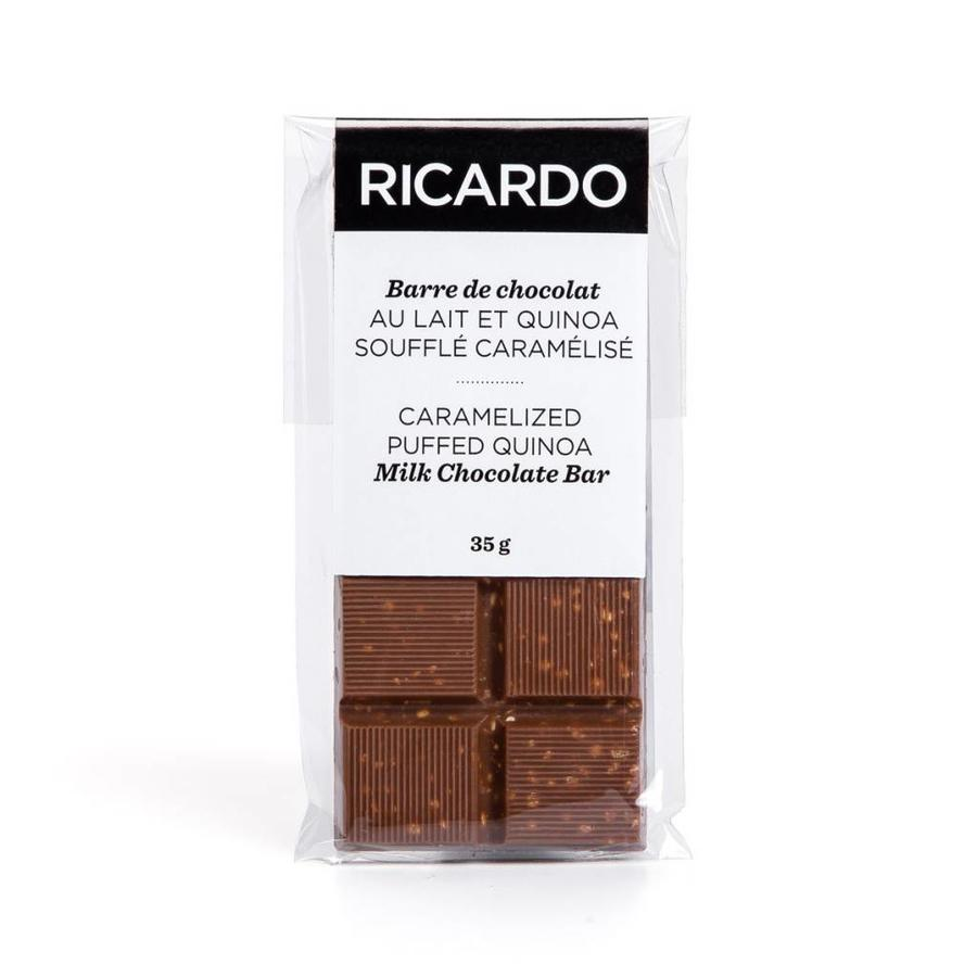 Small caramelized puffed quinoa milk chocolate bar, 35 g - Photo 1
