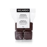 Dark-chocolate covered raspberry marshmallows