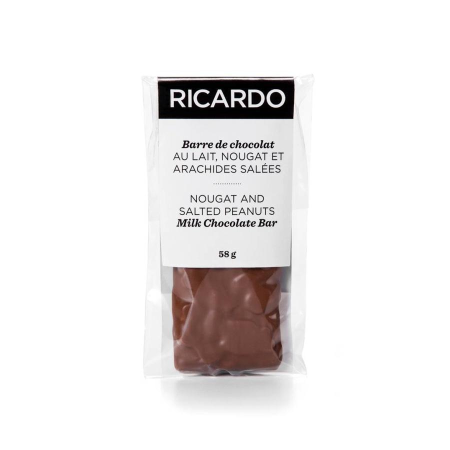Petite barre de chocolat au lait, nougat et arachides salées de 58 g - Photo 0