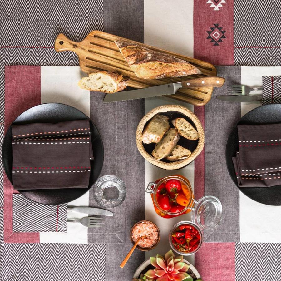 Serviette de table noires à rayures surpiquées - Photo 1