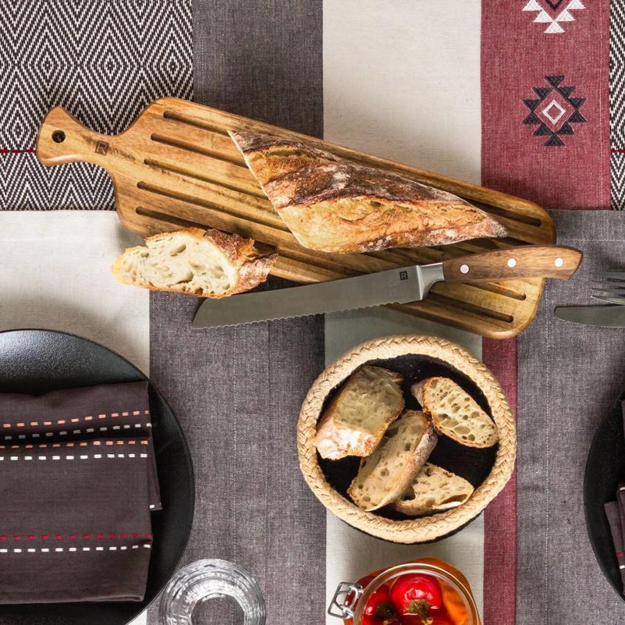 Ensemble de couteau à pain et planche en bois d'acacia - Photo 1