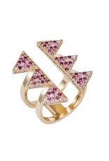 Misahara Golden Hollow Ring - Pink Large