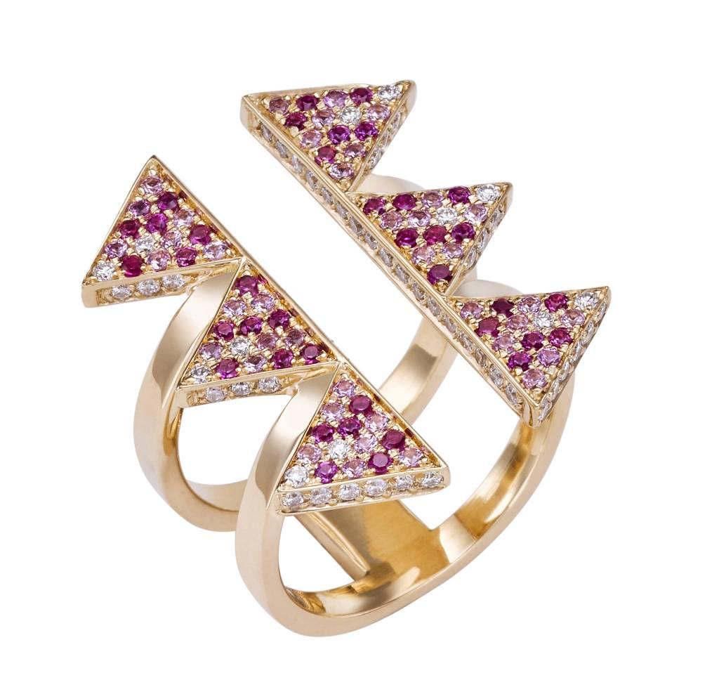 Misahara Golden Hollow Ring - Pink Large