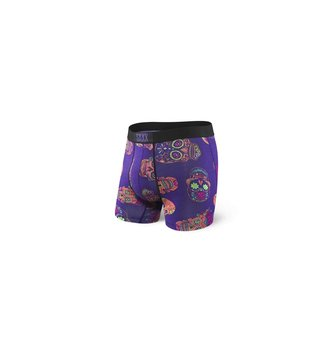 SAXX UNDERWEAR VIBE BOXER FLY PURPLE DAY OF THE DEAD L