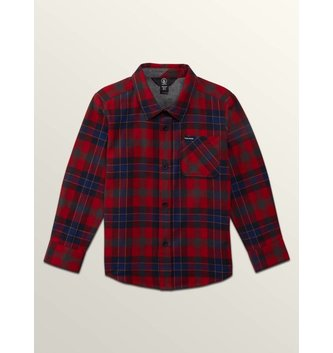 VOLCOM CADEN PLAID L/S ENGINE RED