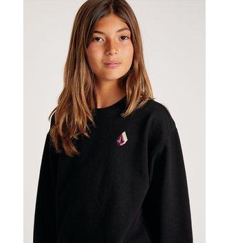 VOLCOM Big Girls Darting Traffic Crew Sweatshirt - Black