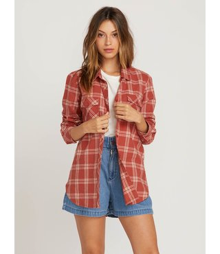 Getting Rad Plaid Long Sleeve Flannel - Dark Clay