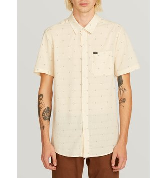 VOLCOM Magstone Short Sleeve Button Up Shirt - Off White