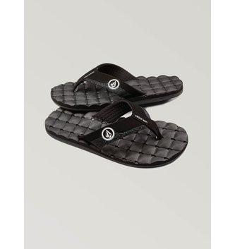 VOLCOM Big Boys Recliner Sandals - Black White