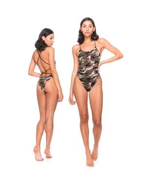 RDS Women's Swimsuit Logotype - Woodland Camo
