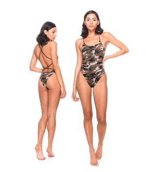 Red Dragon Apparel RDS Women's Swimsuit Logotype - Woodland Camo