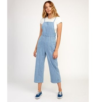 RVCA Called It Striped Denim Overalls - Washed Stripe