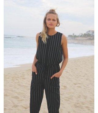 Pop Out Striped Jumpsuit - Black Stripe