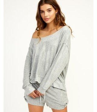 Whisper Fleece Pullover Top - Heather Grey