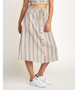 Oslo Striped Midi Skirt - Nude