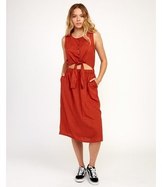 Arizona Woven Midi Dress - Burnt Red