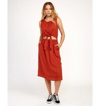RVCA Arizona Woven Midi Dress - Burnt Red