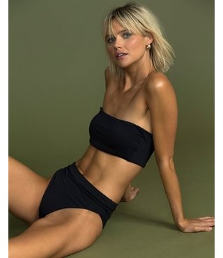 Sol Searcher Sunny Tube Bandeau Top/Rise High-Waisted Bottom - Black Pebble