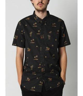 Sundays Mini Short Sleeve Button Up Shirt - Black