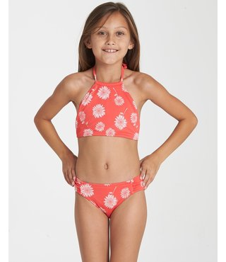 Girls' Daisy Day High Neck Bikini Set - Sunset Red