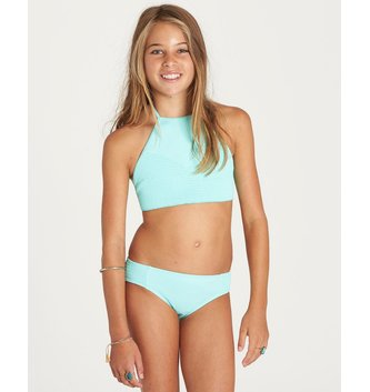 BILLABONG Girls' Sol Searcher High Neck Bikini Set - Seagreen