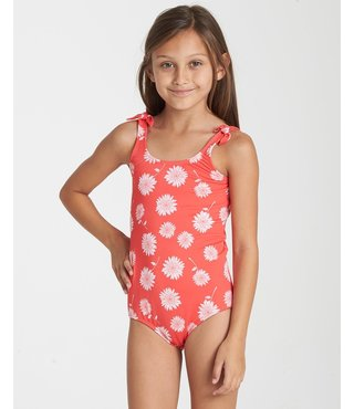 Girls' Daisy Day One Piece Swim - Sunset Red