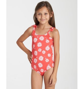 BILLABONG Girls' Daisy Day One Piece Swim - Sunset Red