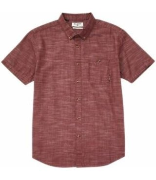 All Day Short Sleeve Button Up Shirt - Maroon