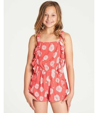 Girls' Wild Jumps Romper - Sunset Red