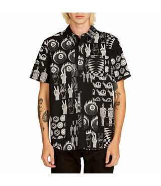 Tabbed Out Short Sleeve Button Up Shirt - Black