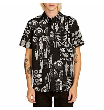 VOLCOM Tabbed Out Short Sleeve Button Up Shirt - Black