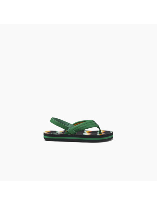 REEF Little Ahi Kids Sandals - Black/Green Blnkt